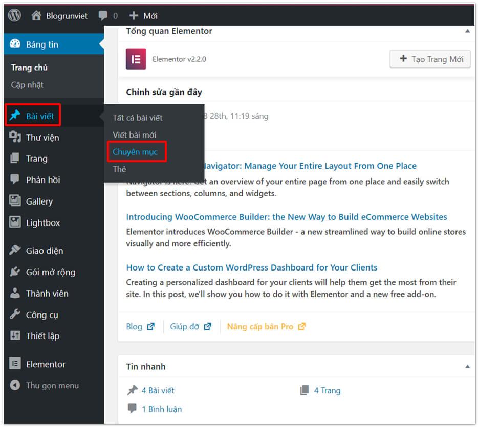 Tạo chuyên mục và bài viết trong WordPress