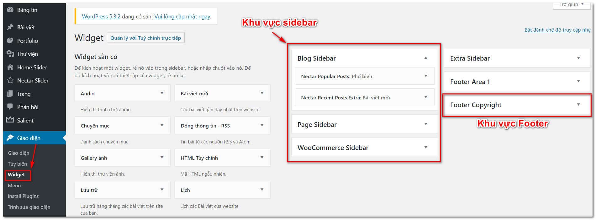 Các vị trí widget trong wordpress